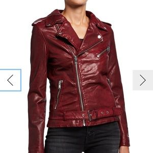 Common usa Leather Zip-Front Moto Jacket